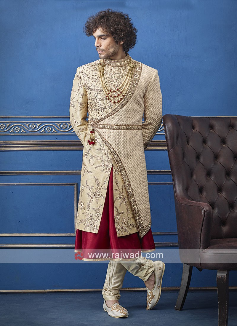 Designer golden and red sherwani