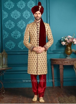 Designer Golden Color Brocade Silk Indo Western