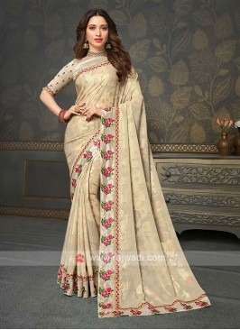 Designer Golden Cream Color Saree