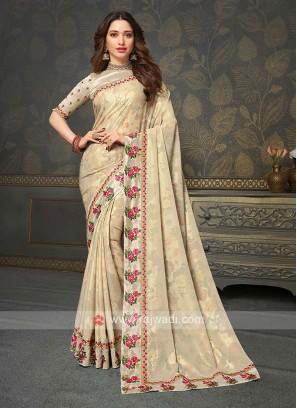 Designer Golden Cream Color Saree