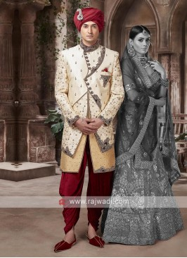 Designer Golden Cream Sherwani