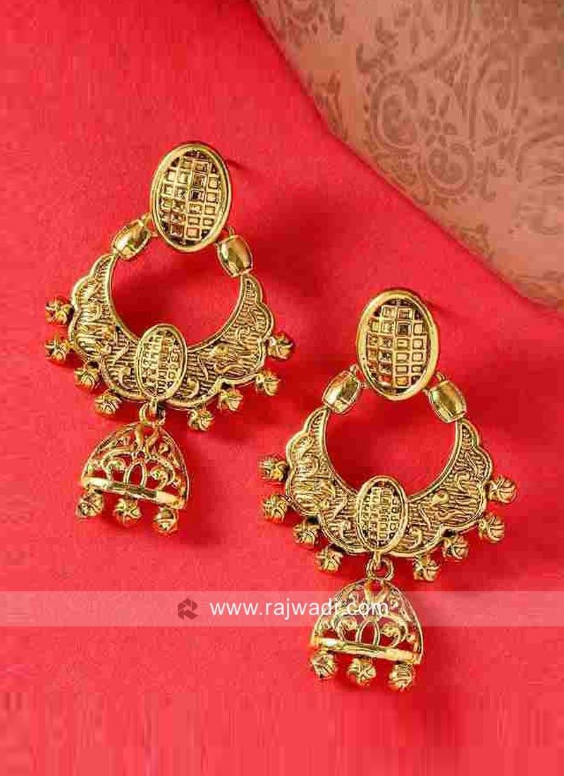 Designer Golden Dangler Earrings