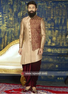 Designer Golden Indo Western For Wedding