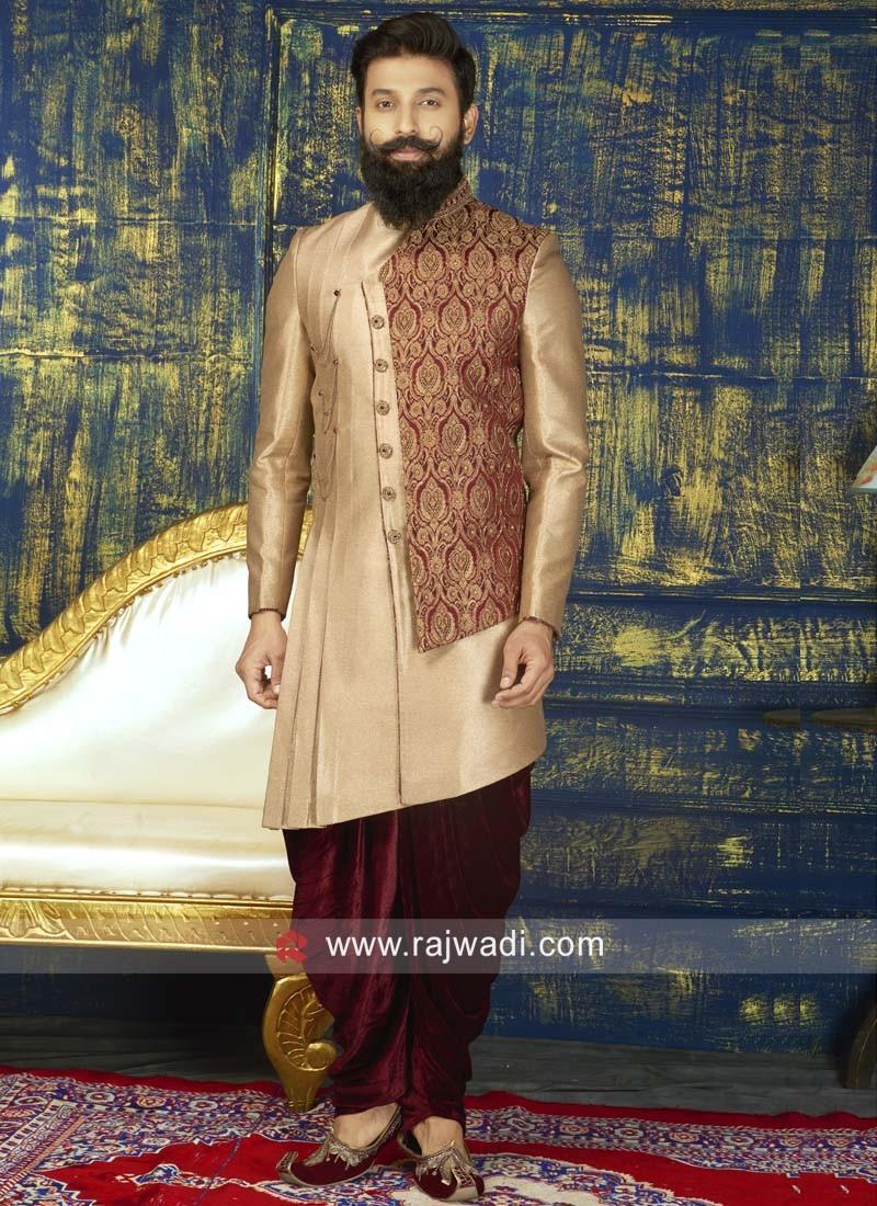 Designer Golden Indo Western For Wedding