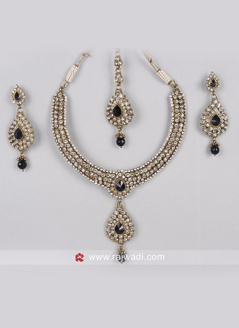 Designer Golden Necklace Set with String Closure
