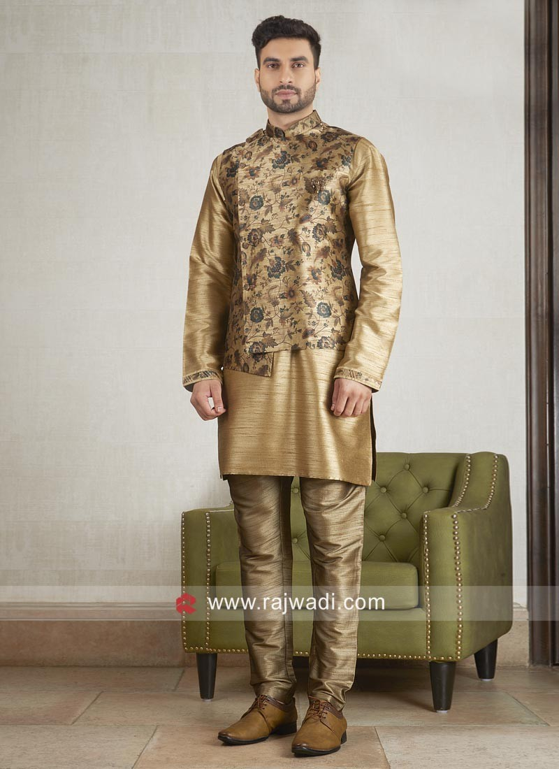 Designer Golden Nehru Jacket