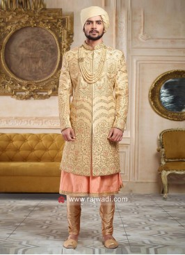Designer Golden Sherwani For Wedding