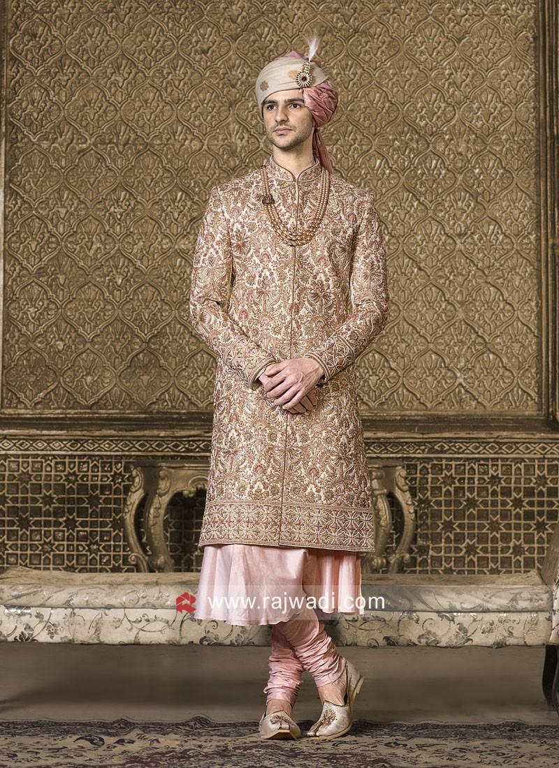 Designer Golden Sherwani For Wedding
