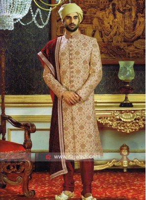 Designer Golden Sherwani With Velvet Stole