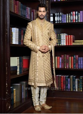 Designer Golden Stylish Sherwani