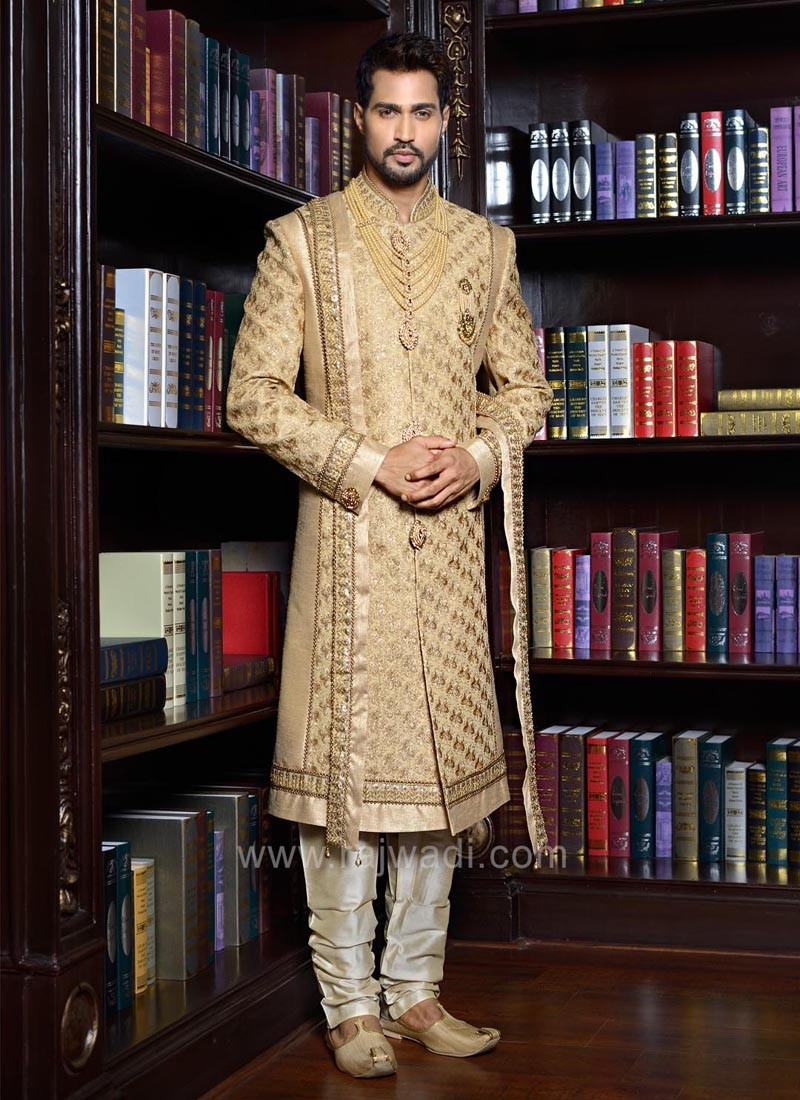 Designer Golden Stylish Sherwani