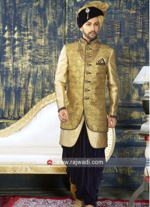 Designer Golden Yellow Color Indo Western