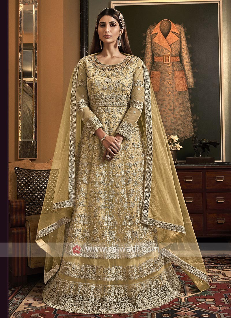 Designer golden yellow color salwar suit
