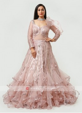 Designer Gown In Peach