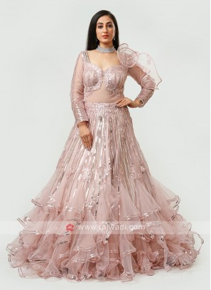 Designer Gown In Peach