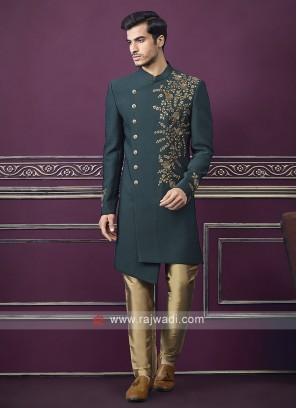 Designer green and golden Colour Indo-western
