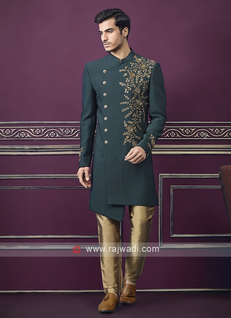 Designer green and golden Colour Indo-western