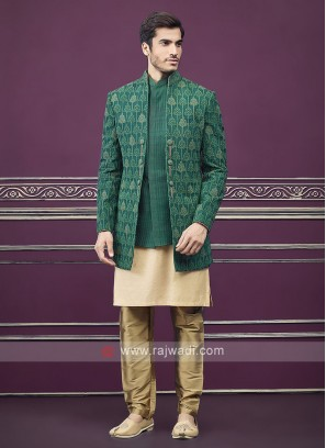 Green and golden colour jacket style indo-western