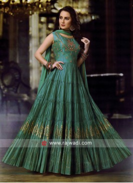 Designer Green Pleated Anarkali Suit