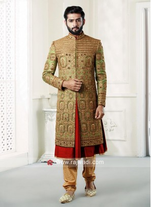Designer Green Raw Silk Sherwani
