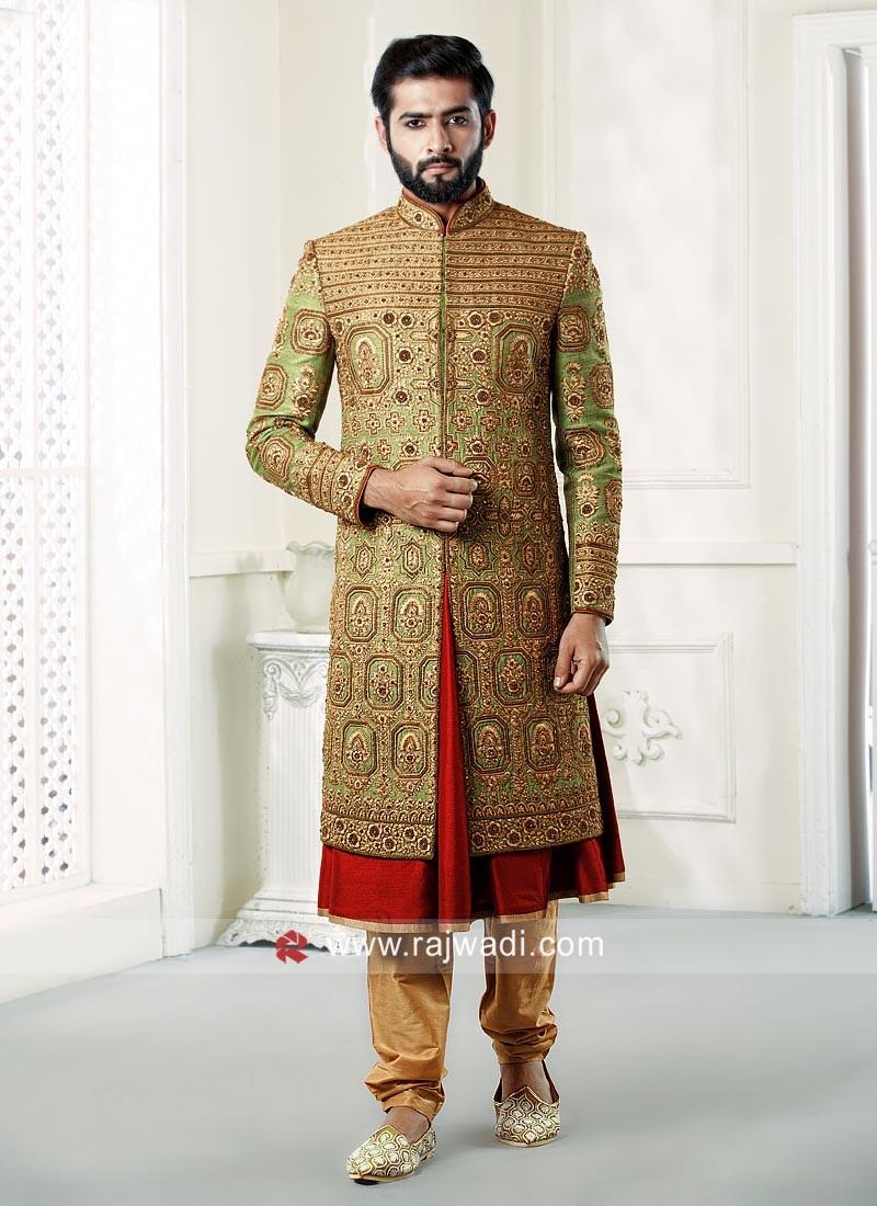 Designer Green Raw Silk Sherwani
