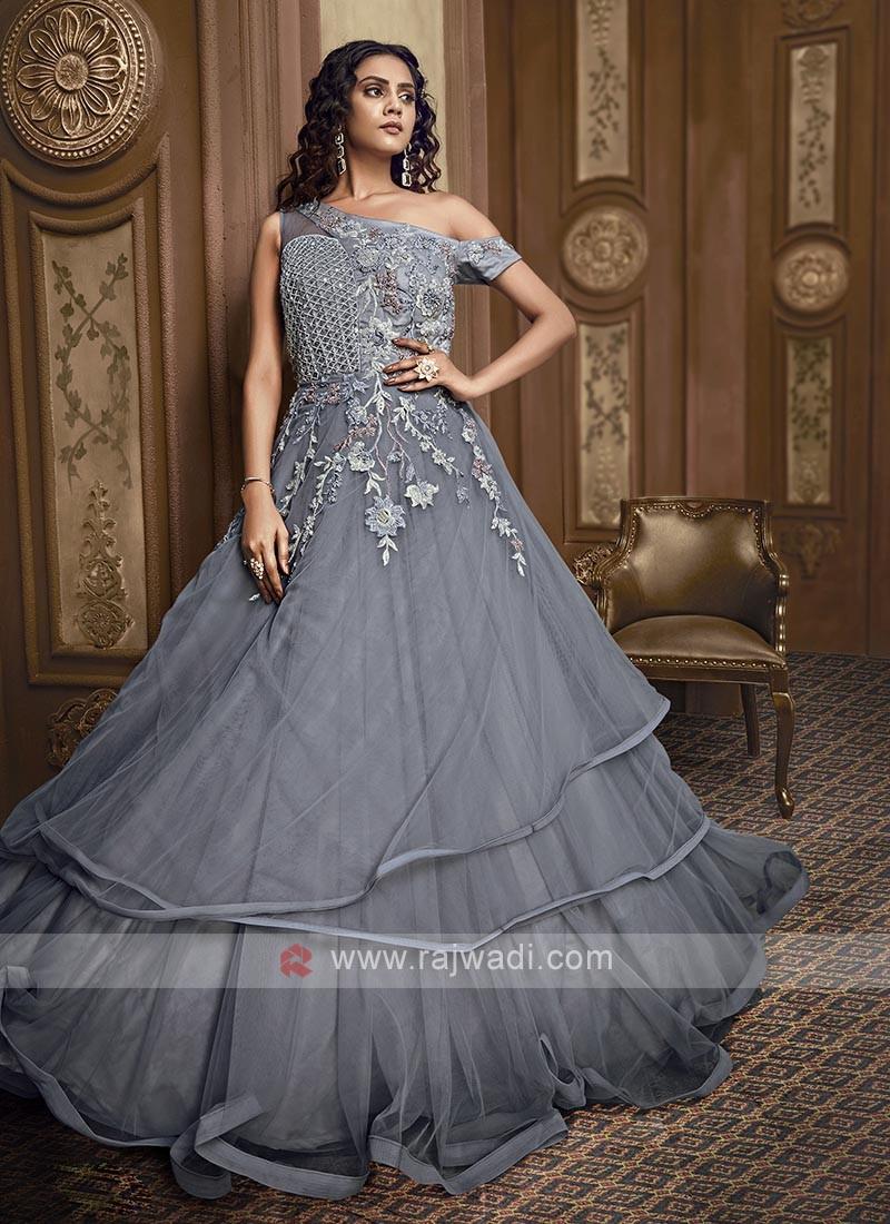Designer grey color net gown