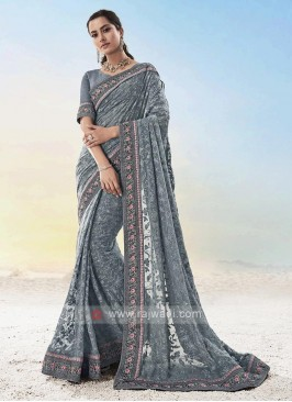 Designer Grey Color Saree