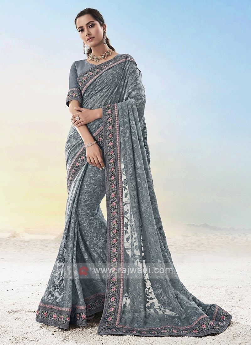 Designer Grey Color Saree