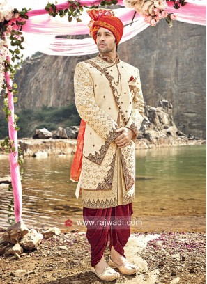 Designer Groom Cream Sherwani
