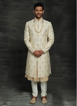 Designer Groom Cream Color Sherwani