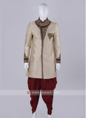 Designer Groom golden and Maroon Sherwani