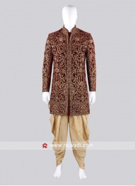 Designer Groom Marron Sherwani