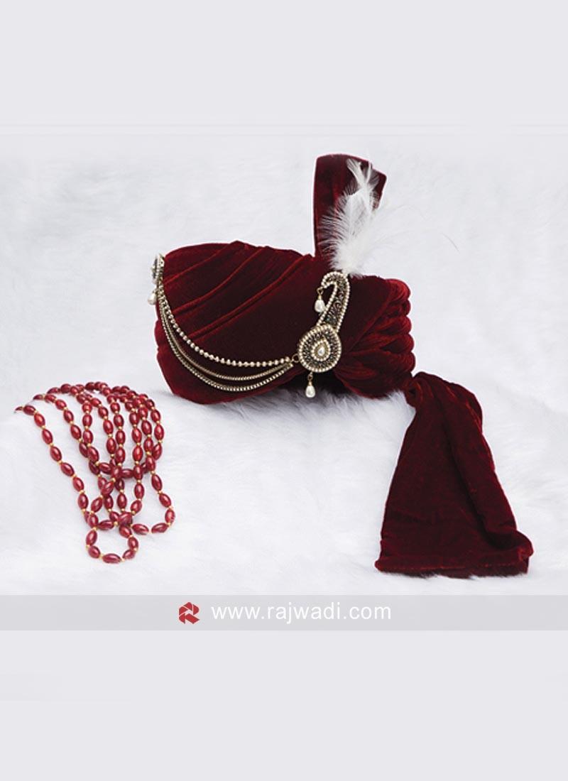 Designer Groom Velvet Fabric Safa