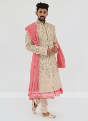 Designer Grooms Sherwani In Cream