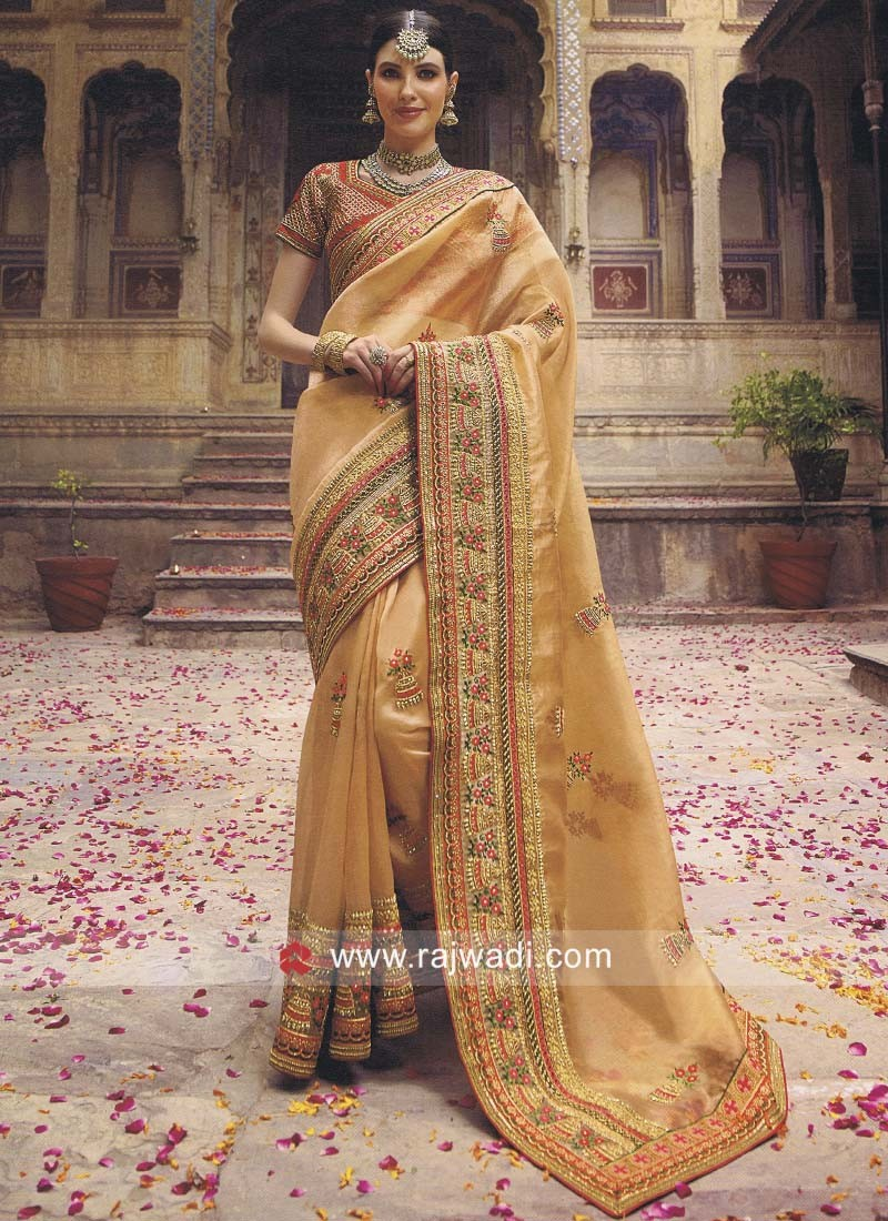 Designer Heavy Saree in Peach