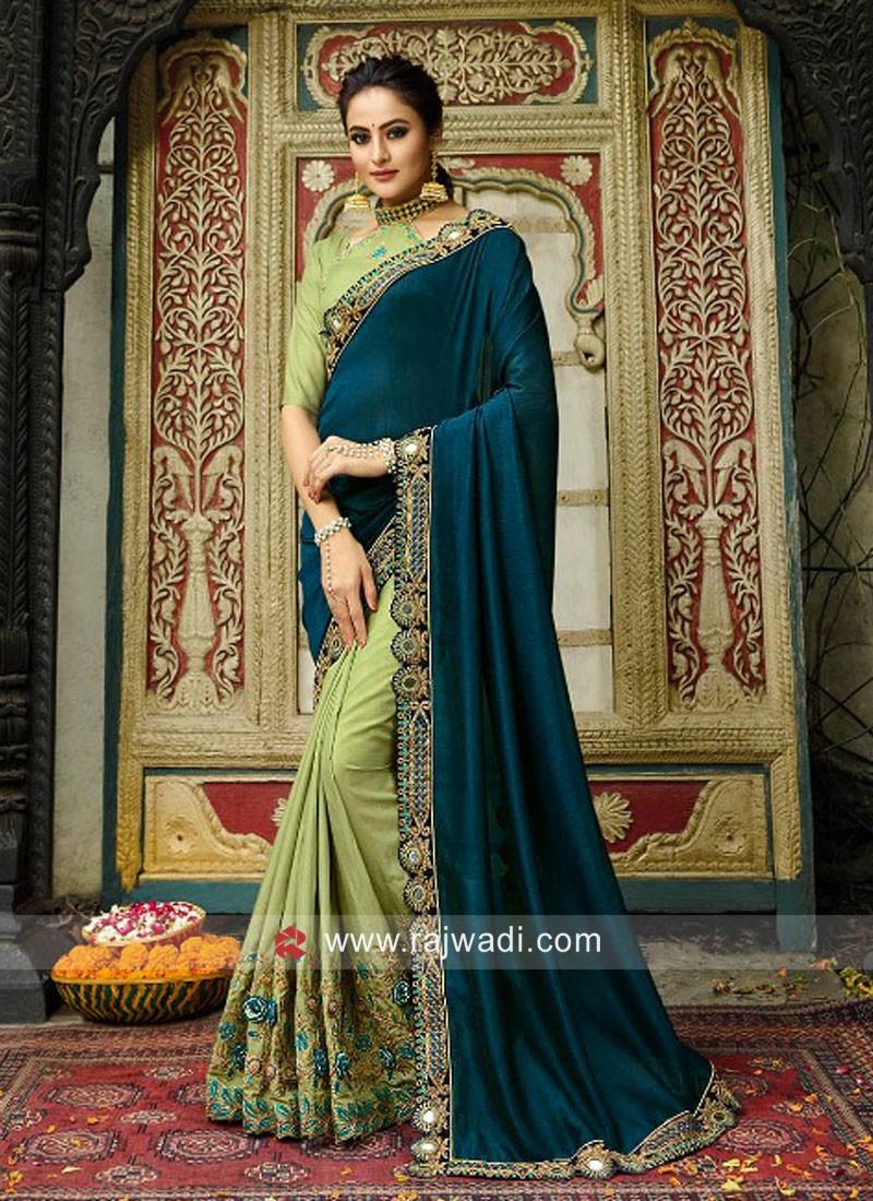 Designer Heavy Work Half n Half Saree