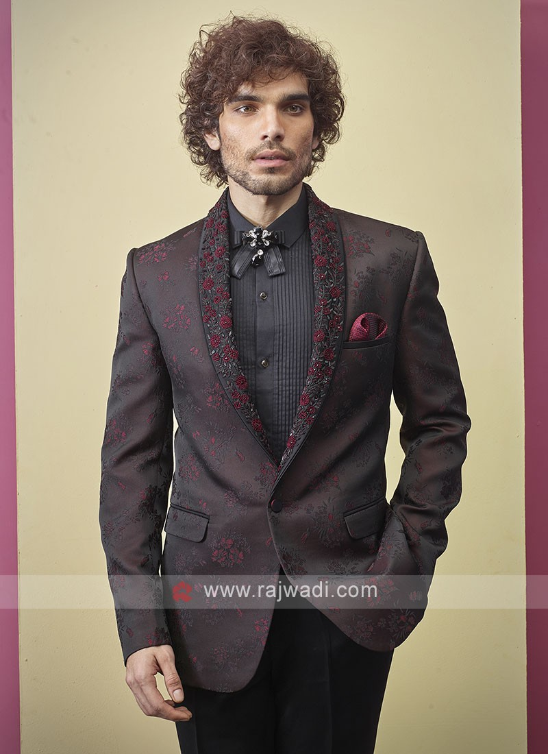 Designer imported fabric black and maroon color suit