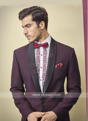 Designer imported fabric wine color suit