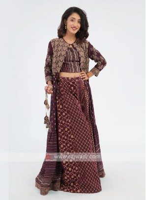 Designer Jacket Style Brown Color Palazzo Suit
