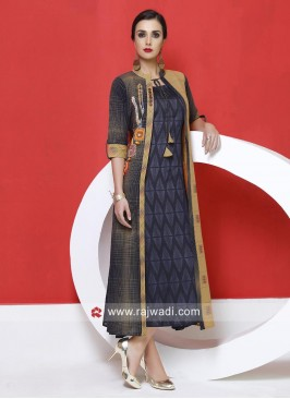 Designer Jacket Style Patch Work Kurti