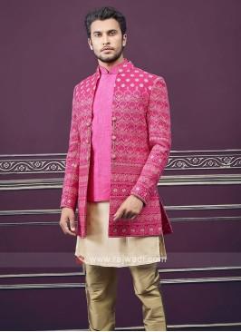 Designer jacket style rani color indo-western
