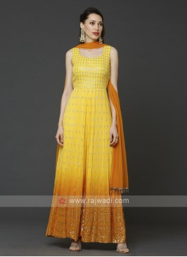 Designer Jumpsuit In Orange Yellow