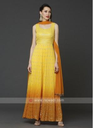Designer Jumpsuit In Orange Yellow