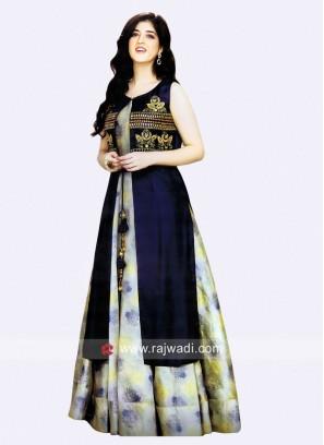 Designer Kurti with Long Embroidered Koti