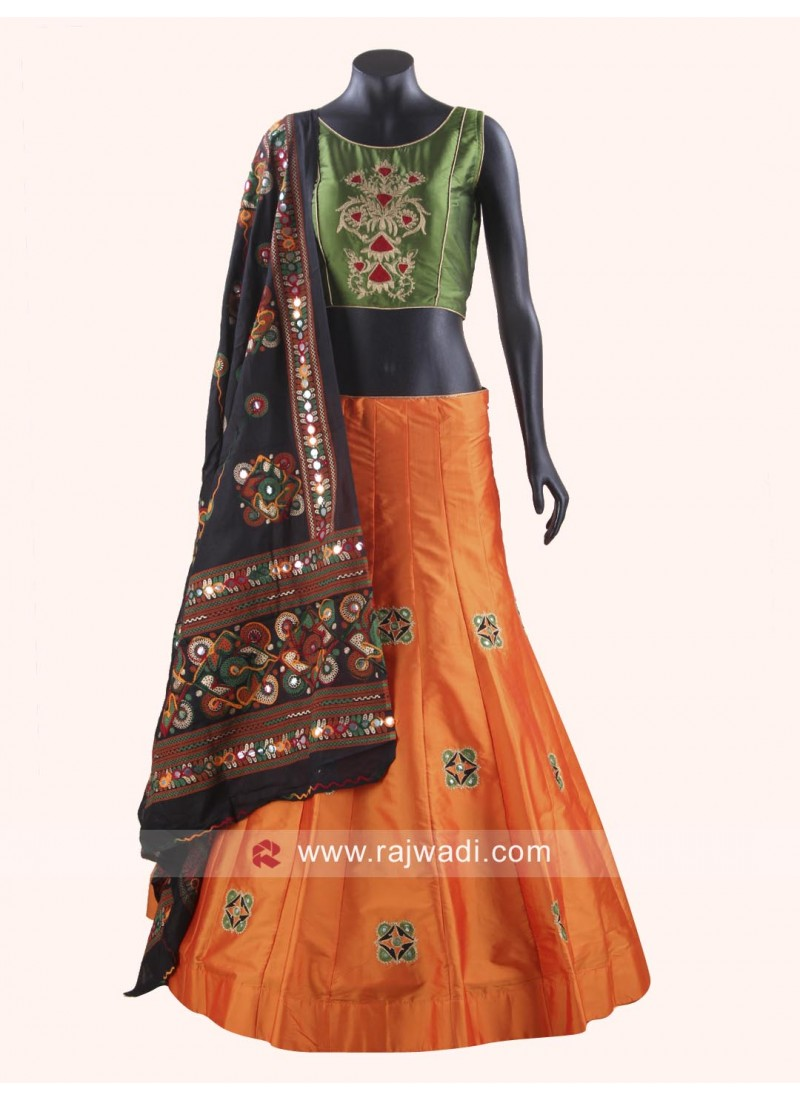 Designer Kutchi Work Chaniya Choli With Black Dupatta