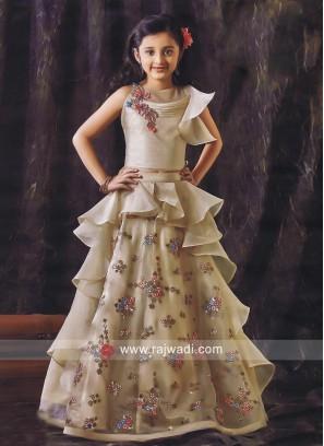 Designer Layered Choli Suit for Girls