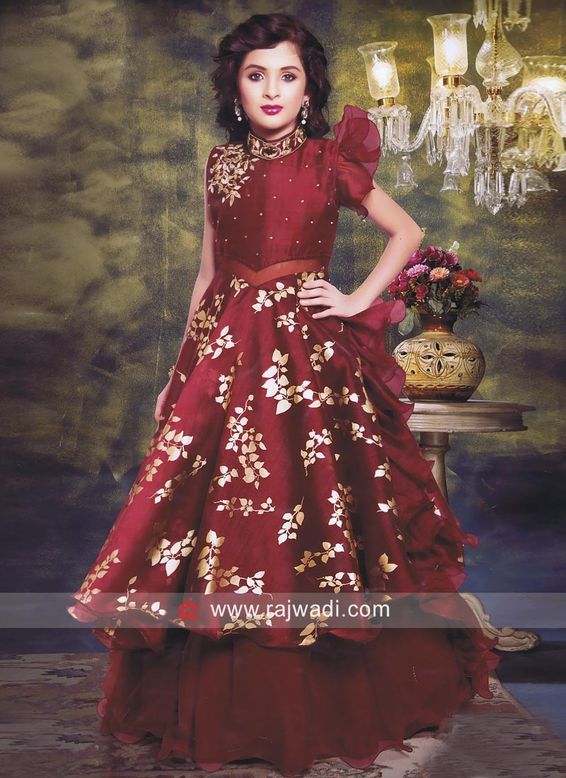b02d82f99e Designer Layered Maroon Gown