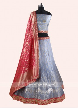 Designer Lehenga Set in Light Grey