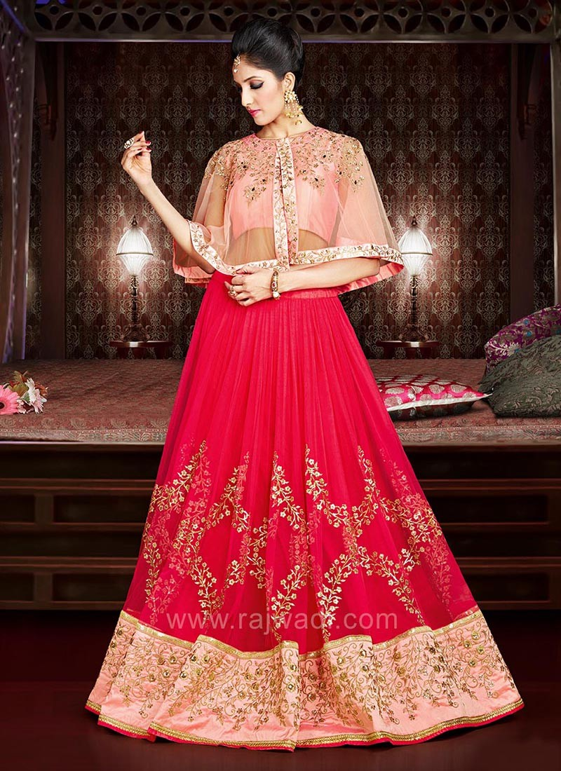 Designer Lehenga with Cap Style Embroidered Choli