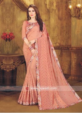 Designer Light Brown Saree with Blouse